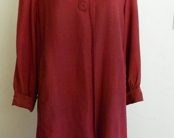 """1940's, 40"""" bust, cranberry red, rayon faille, raincoat"""