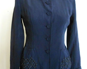 1940s medium midnight blue beaded jacket.