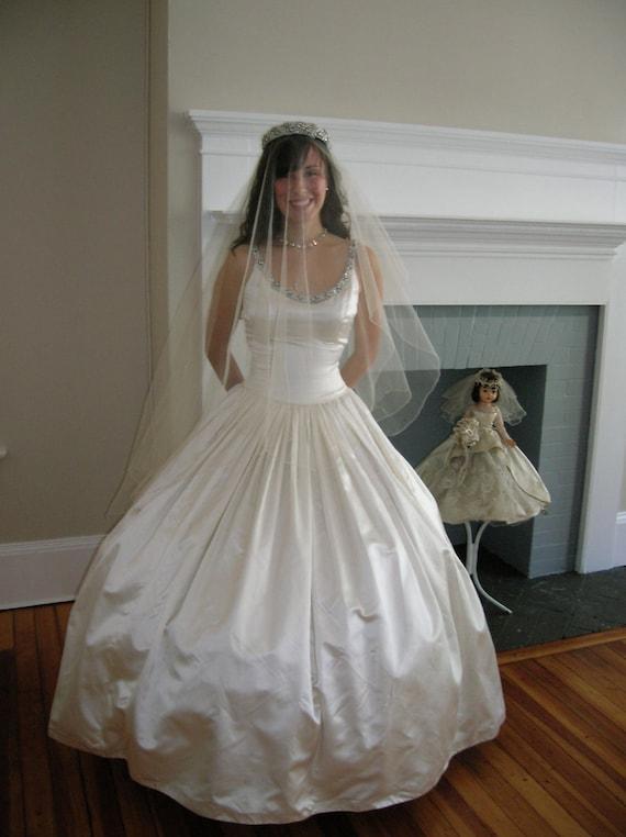 1958 pearl white slipper satin wedding gown for Slipper satin wedding dress