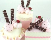 READY TO SHIP - Felt Cake -  Felt Cake Dessert Set - 3 Strawberry and Chocolate Wafer Sticks Tea Party Felt Cakes