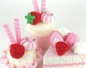 Felt Cake Dessert Set - 3 Princess Strawberry Tea Party Felt Cakes - READY TO SHIP
