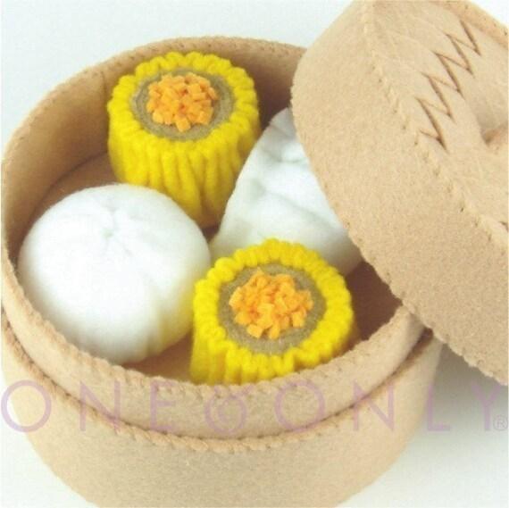 FELT PRETEND FOOD - Chinese Dim Sum and Bamboo Steamer Set