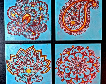 """Custom Indian Henna Motif Paintings 6x6"""" - Set of 4 (made to order)"""