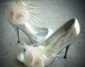 Vintage Ivory or White Shoe Clips double organza flowers by starz selection