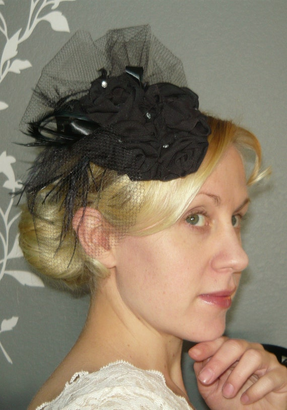 Wedding or Special Occasion Black Flower Rosette Fascinator Headpiece by starzselection