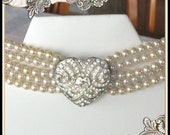 On Reserve For Nancy - Gorgeous Choker with Rhinestone Heart with 5 Rows of Pearls  - Signed Carolee