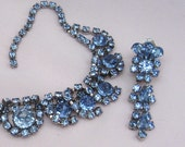 Vintage Rhinestone Wedding Necklace with Earrings Vintage Blue