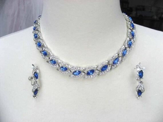 Vintage Sapphire Blue Rhinestone Bridal Necklace Earring Demi 1960s Designer STAR