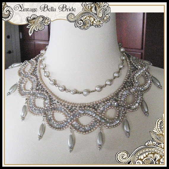 Wedding Necklace Platinum Pearls & Sequins Vintage Collar with Wire-Wrapped Pearl Upcycled Necklace