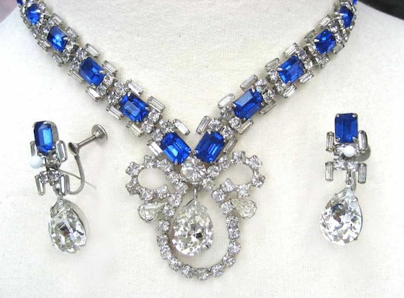 Wedding Necklace Vintage Sapphire Blue Necklace and Drop Earrings 1960s