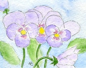 ACEO Orig Watercolor Purple Pansies