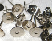 6mm - stainless steel ear posts/studs - 12 pcs (6 pairs)