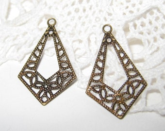 100 pcs Antique brass filigree charm/findings  (FIND-019)