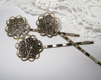 6 pcs - Antique brass filigree bobby pin/hair pin (HC-008)
