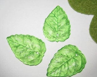 14 pcs 28mm - FROSTED leaf beads/ charms  - (LE017-A)