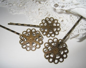 6 pcs Antique brass filigree bobby pin/hair pin(HC-009)