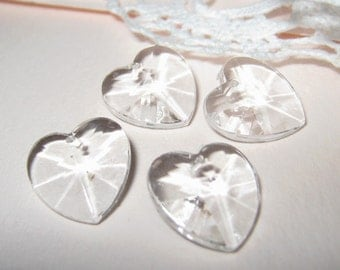 30 pcs 12mm - Acrylic faceted icy clear heart charm (Bead 151-E)