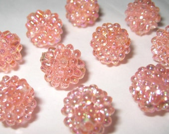 9mm - Shiny peach pink berry beads - 30 pcs (berry-B)