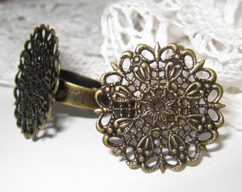 Antique brass adjustable filigree ring base - 2 pcs (RB-005)