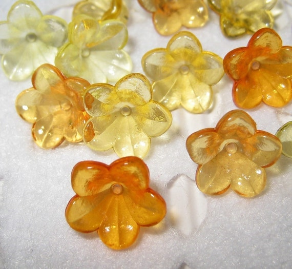 12mm Assorted icy baby flower beads - 30 pcs (FL024-C-Ass)