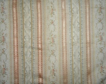 Antique Fabric French Silk Lampas Brocade 1800s