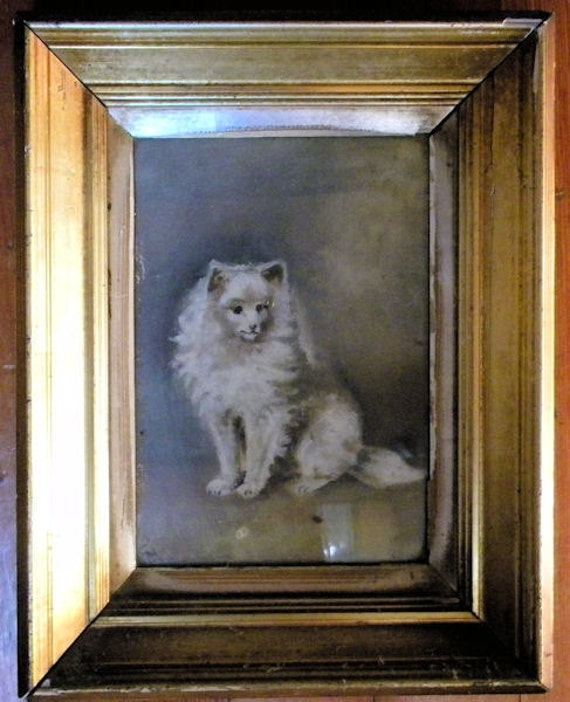 Stunning Antique Painting 19thc Victorian Cat Water Gilt Frame