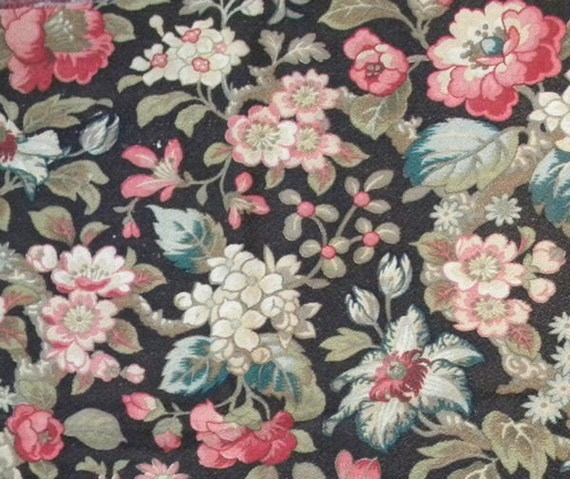 Colorful Antique French Exotic Floral Cotton Barkcloth Fabric