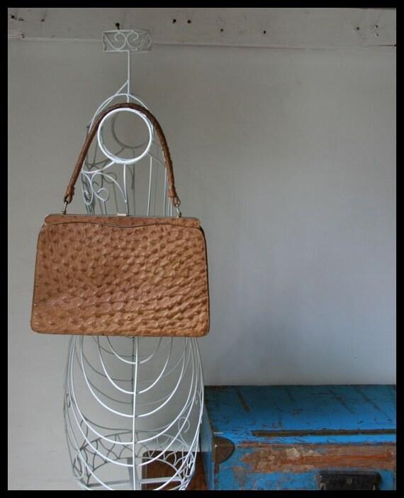 NO. 183 Vintage 1950s Ostrich skin kelly handbag