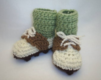 Baby Golf Shoe Booties with Green Socks