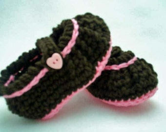 Baby Mary Jane Booties brown pink