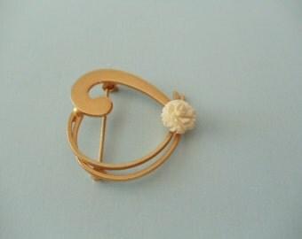 Ivory Rose & Heart Brooch