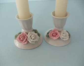 Candle holders in Pink and White Shabby Chic