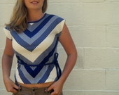 Cute Navy and White 60s Top