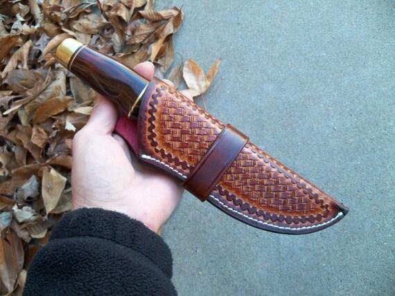 Sheath handmade brass walnut handle hand tooled leather custom knives