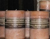 "Badan Sugared Vanilla Pillar Candle, Beige Medium 3""x4.5"" Tall"