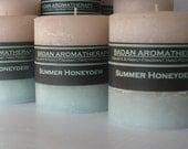 """Badan Summer Honeydew Pillar Candle, White & Melon Green Small 3""""x3.5"""" Tall"""