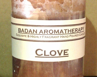 "Badan Pure CLOVE Pillar Candle Made with Clove Essential Oil, Brown Medium 3""x4.5"" Tall"
