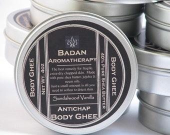 SANDALWOOD VANILLA Body Butter Ghee Natural & Organic - Intensive Moisturizer for Dry Skin