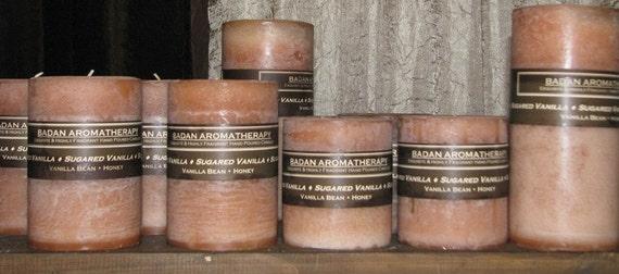 "Badan Sugared Vanilla Pillar Candle, Beige Small 3""x3.5"" Tall"