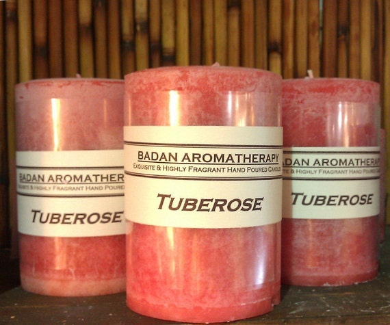 Fragrant Pink Tuberose Pillar Candle 3x4.5