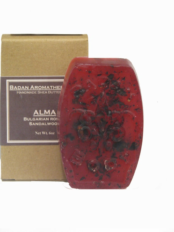 Badan Body Bulgarian Rose & Sandalwood Soap (Alma): Handmade Glycerin Rich Shea Butter Soap, 6oz Bar