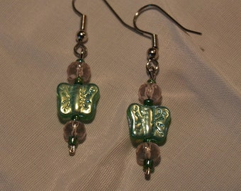 Green and Pink Butterfly Earrings...SALE...