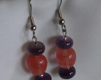 Amethyst and Strawberry Quartz Earrings