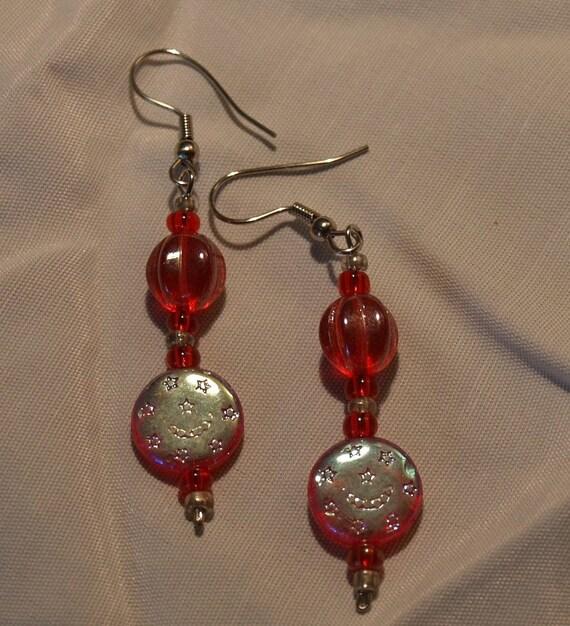 Red Glass Earrings   ....SALE...