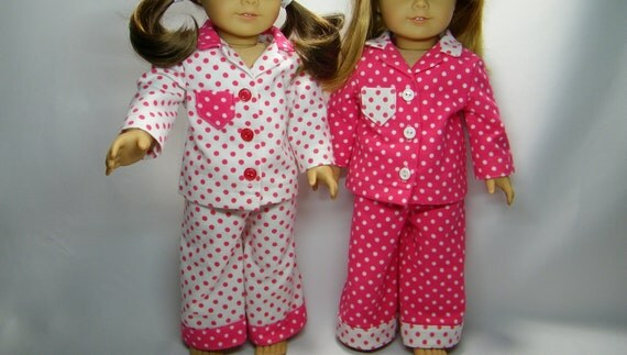 Polka dotted pajamas for your American girl doll,  pick one