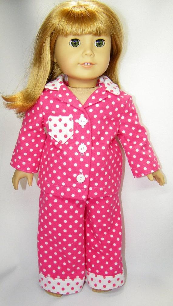 American girl doll polka dotted pajamas
