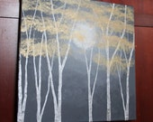 Beautiful 16 x 16 square metallic painting of twilight in a birch forest. COMMISSION OF ORIGINAL painting on canvas, signed by artist.