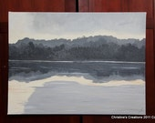 Lovely One of a Kind Painting 24 x 18 at the waters edge. hand signed by artist. grey, silver, and gold tones. lovely river's edge painting.