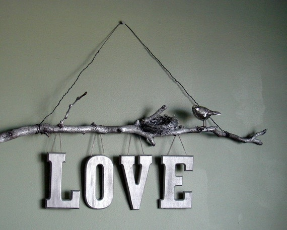 Items similar to natural twig love wall sign silver for Silver bedroom wall art