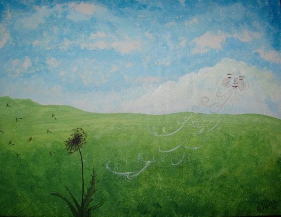 SALE: Lonley Dandelion Original Painting Hand Painted Art. One of a Kind Children's Art, Nursery or Baby decor